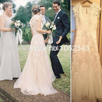 Champagne Romantic Beach Dresses V- Neck Cap Sleeves Bridal Wedding Gown Vintage A- Line White Lace Long Wedding Dresses