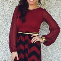 Let Me See Your Chevron Dress: Burgundy | Hope's