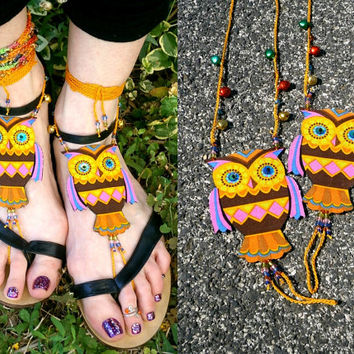Owl Barefoot Sandals - Handmade Bohemian Cotton Fabric Jewelry - XL3 Model
