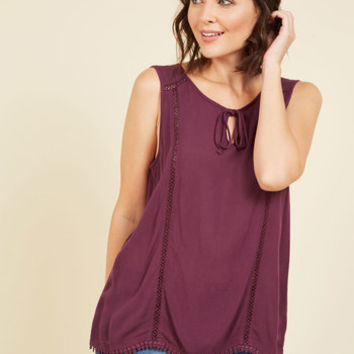 Think Tanka Sleeveless Top in Merlot | Mod Retro Vintage Short Sleeve Shirts | ModCloth.com