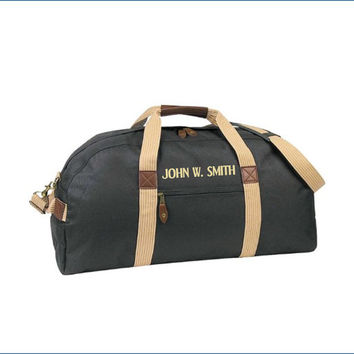 Personalized 24 Inch Canvas With Faux Leather Accent Travel Duffle For Him Free Monogramming With Purchase