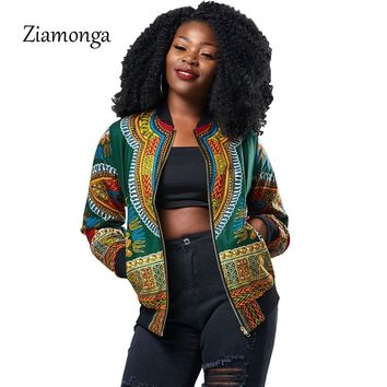 Ziamonga Dashiki Bomber Jacket Women Autumn Outwear African Print Jackets Female Vintage Casual Basic Jackets Coats For Women