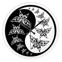 Yin Yang Tao Butterflies Black And White Clock