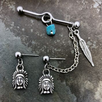 Native American, Indian, Tribal Industrial barbell, body jewelry, 14 gauge stainless steel