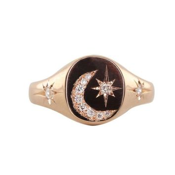 us size 6 7 8 New arrived Christmas gift Engraved moon star cz paved starburst women fashion ring jewelry classic design