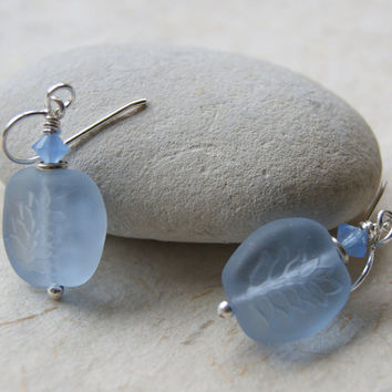 First Frost Earrings - Periwinkle Leaf Earrings - Glass Leaves - Nature-inspired - Eco - Autumn Fashion - boho chic - gift under 25