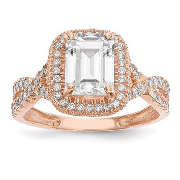 10k Rose Gold Tiara Collection Em. Cut Rectangle CZ Halo Ring