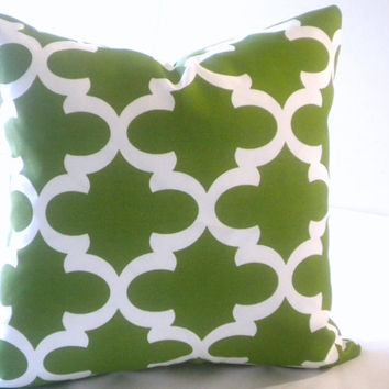Green white moroccan trellis print pillow cover, Fabric both sides, all sizes available