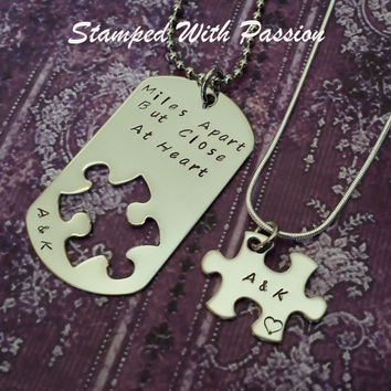 Long distance relationship gift - Hand Stamped Matching Necklace Set - Miles apart but close at heart - Jewelry