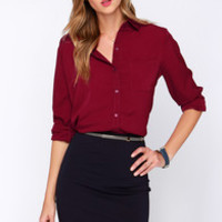 Glamorous Business Dynamics Burgundy Long Sleeve Top
