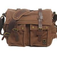 Men Women Retro Vintage Canvas Leather School Briefcase Military Travel Crossbody Shoulder Bag Messenger Bags Laptop Portfolio