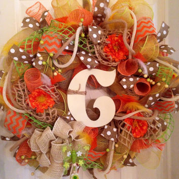 Spring / Summer Mesh Floral Wreath DecoMesh Spring Wreath Monogram Wreath Personalized Wreath Summer Wreath Orange Mesh Wreath Door Wreath