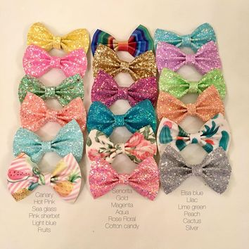 Glitter or Faux Leather Hair Bow Headband