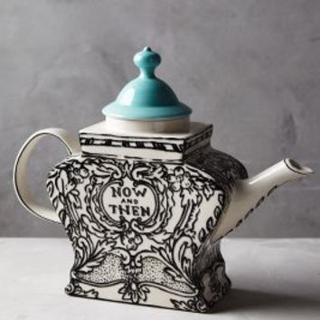 Molly Hatch Sketched Story Teapot in Black Motif Size: Teapot Serveware