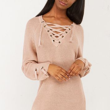 Lace Up Knit Top in Black and Taupe