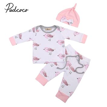 Newborn Infant Kids Baby Gir Cotton Tops+Long Pants+bow-knot Hat Outfits Toddler Bird Patern Baby Girls Clothing