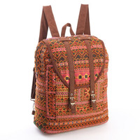 Large Exotic Orange Backpack Vintage Traditional Hand Stitched Textile