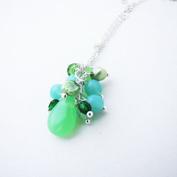 Romantic Green Necklace  Mint Pastel necklace Long chain