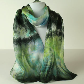 Hand Dyed Scarf, Shibori, Silk Scarf, Long Scarf, Scarf, Blue Green Scarf, Gift For Her, Accessories, Fashion Scarf, Travel Accessory, Boho