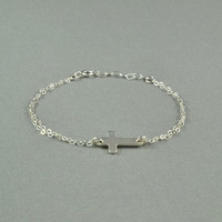 Sideways Cross Bracelet, 925 Sterling Silver, Double Chain, Fashion, Simple, Pretty, Delicate, Everyday Wear Bracelet
