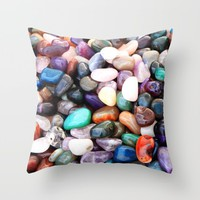 Polished Coloured Gemstones Throw Pillow by Inspired Images