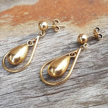 Vintage Gold Teardrop Earrings , 9ct Real Yellow Gold , Dangle Drop Earrings , Gifts For Her
