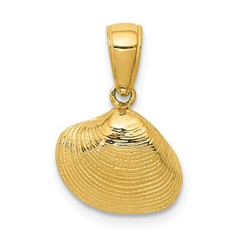 14K Yellow Gold Small Clam Shell Pendant