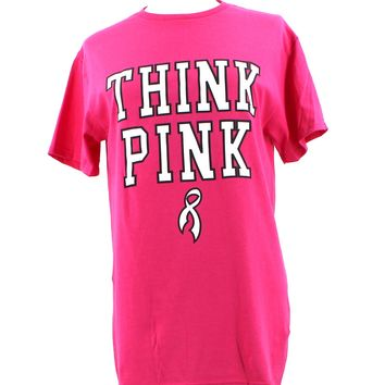 Think Pink Breast Cancer Campaign T-Shirt - Black and Hot Pink