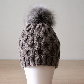 Fur pom pom hat, Womens winter hats, Cashmere wool pom pom hat, Fur bobble hat, Honeycomb cable hat, Tobacco brown, Fox fur pom pom