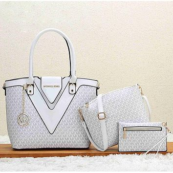 Michael Kors MK Women Shopping Bag Leather Tote Handbag Shoulder Bag Set Three Piece