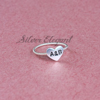 Heart On Silver Ring - Lover Gift - Sterling Silver Twist Ring - Hand Stamped - Wedding Gifts