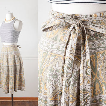 Indian Cotton Wrap Skirt / Vintage 90s Skirt / Wrap Around Skirt / 70s Style Skirt / Boho Chic Hippie Skirt / Ethnic Skirt / Hippie Clothing