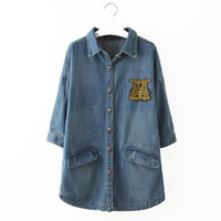 Women's Fashion Embroidery Decoration Denim Tops Shirt Jacket [5013122500]