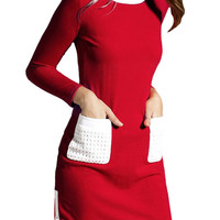 Red Long Sleeve Mini Dress with White Double Pocket