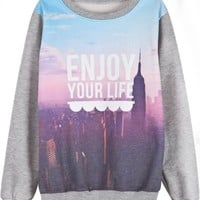 Sheinside Grey Long Sleeve Building Letters Print Sweatshirt