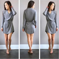 SIMPLE - Women Long Sleeve Loose V Neck Solid One Piece Dress a10822