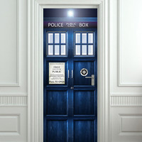 "Door STICKER Police box magical mural decole film self-adhesive poster 30""x80""(77x203 cm)"