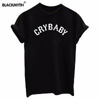 Summer T Shirt Women's Punk Tops CRYBABY Print Tee O-neck Shirt Black White Casual Tshirt