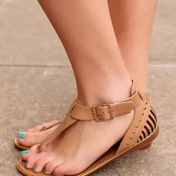 Just A Small Town Girl Sandals: Tan