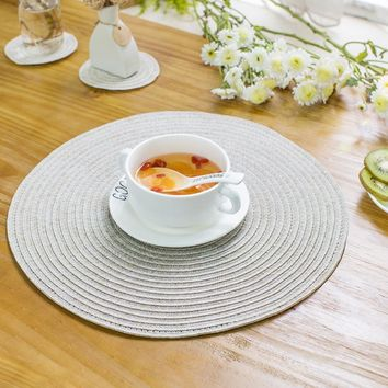 2pcs/lot PVC Minimalist Table Mat Round Placemats Hand-knitted Linen Tablecloth Coaster Pad Heat Insulation Dinner Table Pad