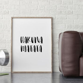 Dorm Decor,Instant Download,Digital Art Print,Hakuna Matata Print,Wall Art Print,Gold Foil Print,Quote Print