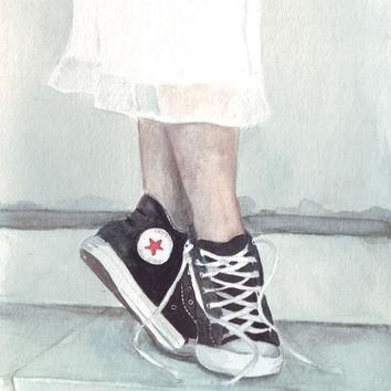 Original watercolor painting converse all star shoes white skirt dancing ballet on a s