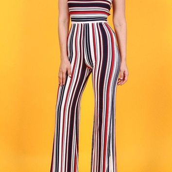 Striped Open Back Bell Bottom Jumpsuit