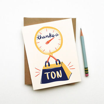 Thanks a Ton card cute funny clever illustration calligraphy typography handwriting thank you scale gold white navy blue red yellow