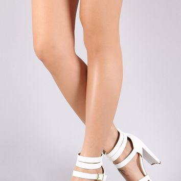 Qupid Vegan Leather Strappy Buckled Open Toe Thick Heel