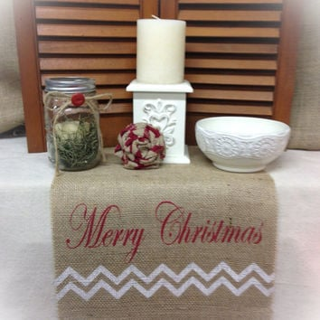 "Burlap Table Runner 16"" & 18"" wide with Merry Christmas and a  Chevron pattern"