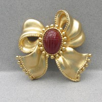 Gorgeous BIG Signed P.E.P. Erwin Pearl Vintage 1970's SCARAB Bow Pin