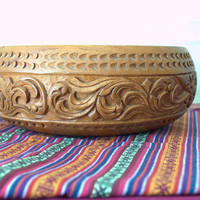 Large Carved Wooden Bowl, Decorative Handmade Wooden Bowl, Vintage Wooden Fruit Bowl