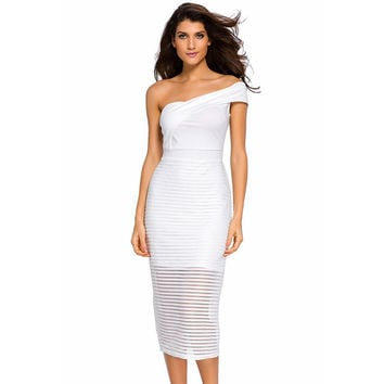 2016 Autumn Solid Color Sexy Clothes Strapless Collar Single Shoulder Midi Party Dress Stripe Slim Package Hip Dresses B1007068