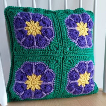 Pansy Pillow Cover 12x12, Crochet Pillow Case, Cushion Cover, Green Pillow, Throw Pillow, Accent Pillow, Decorative Pillow, Pillow Sham